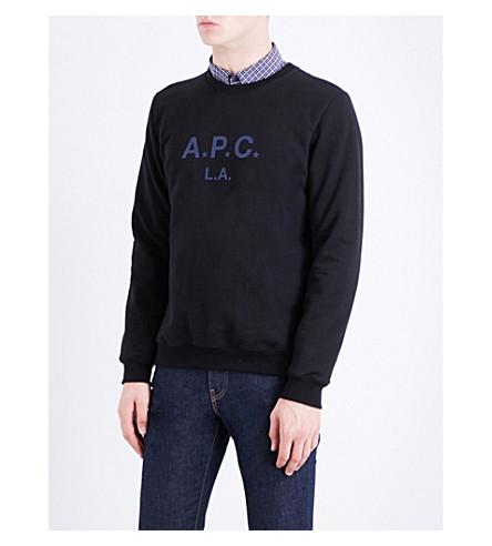 A.P.C. Metallic brand-print cotton-jersey sweatshirt (Noir