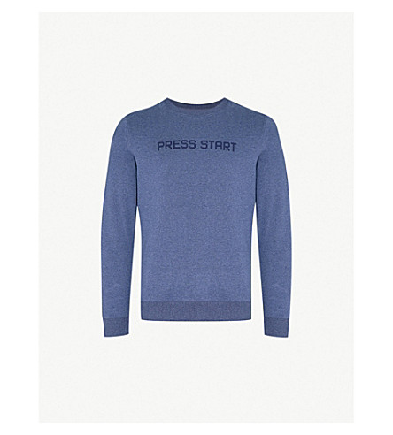 A.P.C. Press Start printed cotton-jersey sweatshirt (Marine+chine