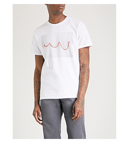 A.P.C. Streamer printed cotton-jersey T-shirt (Blanc