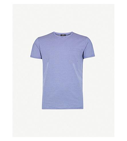 A.P.C. Striped cotton-jersey T-shirt (Bleu+fonce