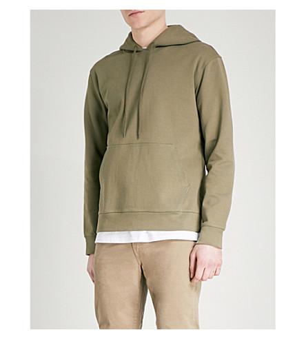 A.P.C. Drawstring cotton-jersey hoody (Kaki