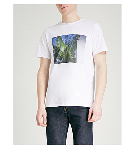 A.P.C. Palm tree-print cotton-jersey T-shirt (Blanc