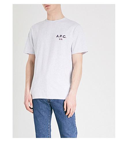 A.P.C. Flag cotton-blend T-shirt (Gris+chine