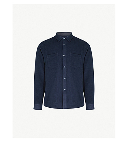 A.P.C. Fitz felted wool-blend overshirt (Dark+navy
