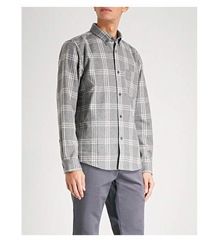 A.P.C. Walter checked regular-fit wool-blend shirt (Gris+chine