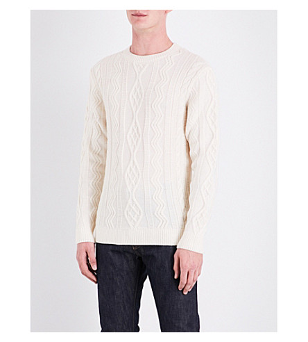 A.P.C. Jacques Yves cable-knit virgin-wool jumper (Blanc+casse