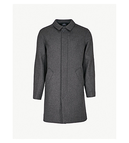 A.P.C. New England wool-blend coat (Anthracite+chine