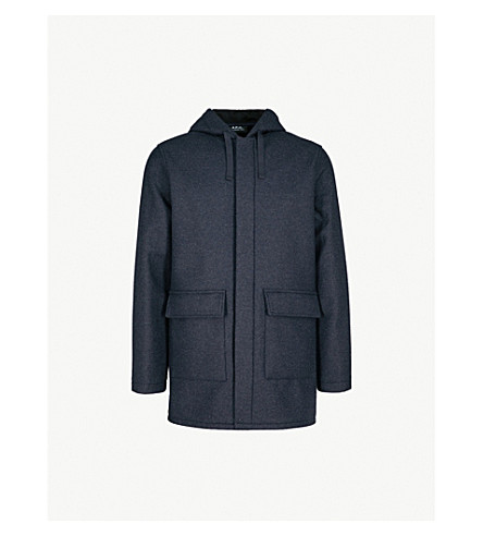 A.P.C. Ben hooded wool-blend coat (Marine+chine
