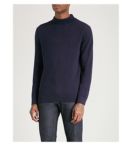 A.P.C. Ryan turtleneck wool and cashmere-blend jumper (Marine