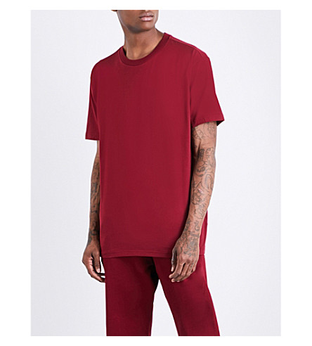 ADIDAS XbyO taped-detail cotton-jersey T-shirt (Collegiate+burgundy