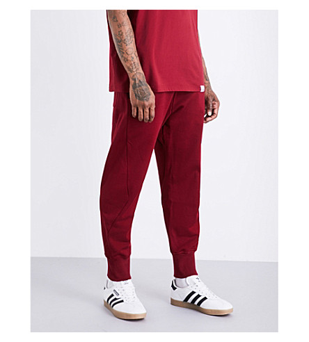 ADIDAS XbyO tapered cotton-jersey jogging bottoms (Collegiate+burgundy