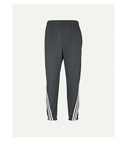 ADIDAS Striped cotton-blend jogging bottoms (Carbon/white