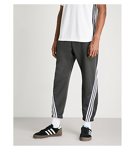 ADIDAS Striped cotton-blend jogging bottoms (Carbon/white
