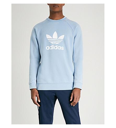 ADIDAS Trefoil cotton-jersey sweatshirt (Ash+blue+s18