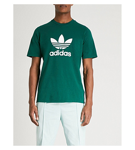 ADIDAS Trefoil cotton-jersey T-shirt (Collegiate+green