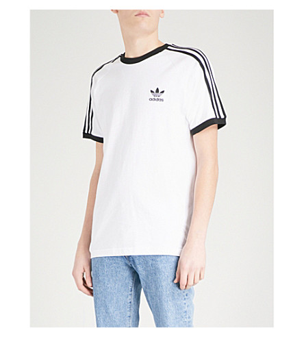 ADIDAS Striped short-sleeved cotton T-shirt (White