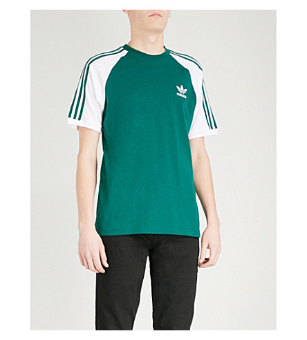 ADIDAS Striped short-sleeved cotton T-shirt (Collegiate+green