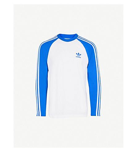 ADIDAS Striped long-sleeved cotton T-shirt (Blue