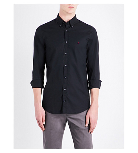 TOMMY HILFIGER Core slim-fit stretch-cotton poplin shirt (Flag+black