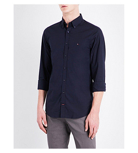 TOMMY HILFIGER Core slim-fit stretch-cotton shirt (Sky+captain