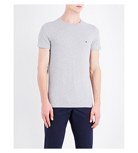 TOMMY HILFIGER Core stretch-cotton T-shirt (Cloud+htr