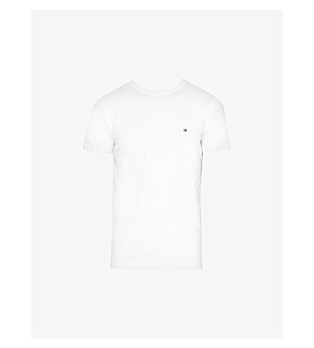 TOMMY HILFIGER Logo-embroidered stretch-cotton T-shirt (Classic+white