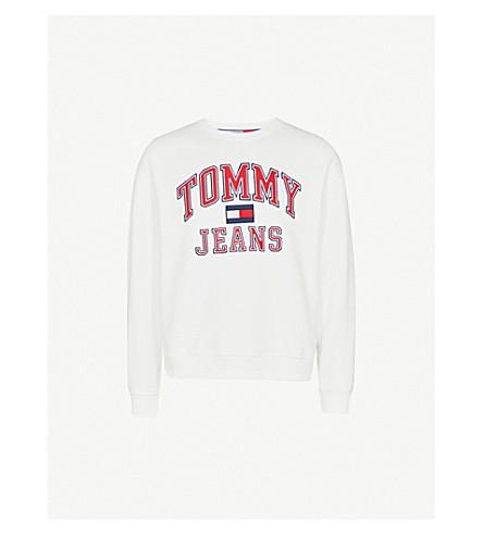 TOMMY JEANS 徽标刺绣平纹针织棉卫衣 (亮 + 白