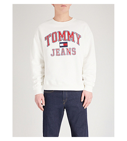 TOMMY JEANS Logo embroidered cotton-jersey sweatshirt (Bright+white