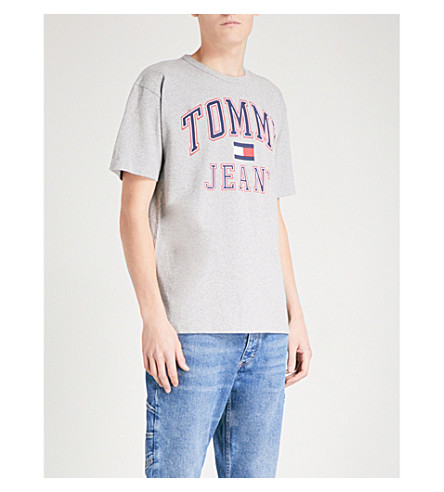 TOMMY JEANS 90s logo-print cotton-jersey T-shirt (Grey marl