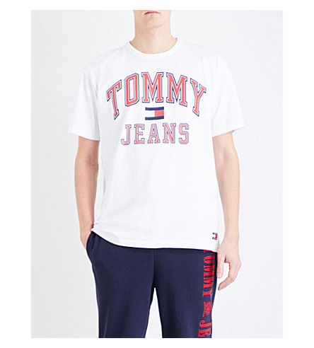 46612def2847d ... TOMMY JEANS  90s cotton-jersey T-shirt (Bright+white. PreviousNext