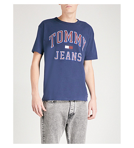 TOMMY JEANS 90s logo-print cotton-jersey T-shirt (Peacoat