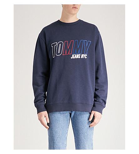 TOMMY JEANS Logo-embroidered cotton-jersey sweatshirt (Black+iris