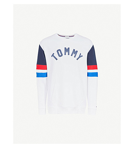 TOMMY JEANS Colourblock cotton-jersey sweatshirt (Classic+white+/+multi