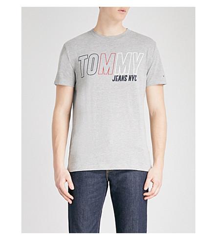 TOMMY JEANS Branded print cotton-blend T-shirt (Lt+grey+htr