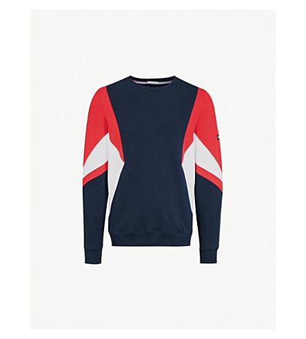 TOMMY JEANS Colourblock cotton-jersey sweatshirt (Racing+red+/+multi