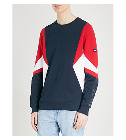TOMMY JEANS Colourblock cotton-jersey sweatshirt (Racing+red+/+multi