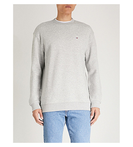 TOMMY JEANS Classics logo-embroidered cotton-blend sweatshirt Grey Sale Discounts wGQlIel