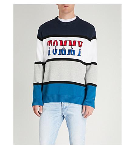 TOMMY JEANS Colourblock 棉针织卫衣 (白 + 灰 + 蓝)