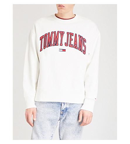 TOMMY JEANS Collegiate fleece-lined sweatshirt (Bright+white