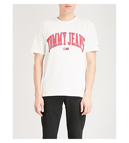 TOMMY JEANS Collegiate cotton-jersey T-shirt (Bright+white