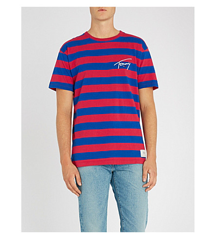 TOMMY JEANS Signature striped cotton-jersey T-shirt (Cerise+/+surf+the+web