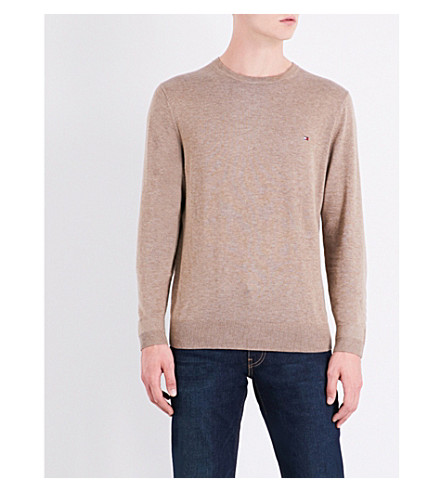 TOMMY HILFIGER Crewneck cotton and silk-blend jumper (Fossil+heather