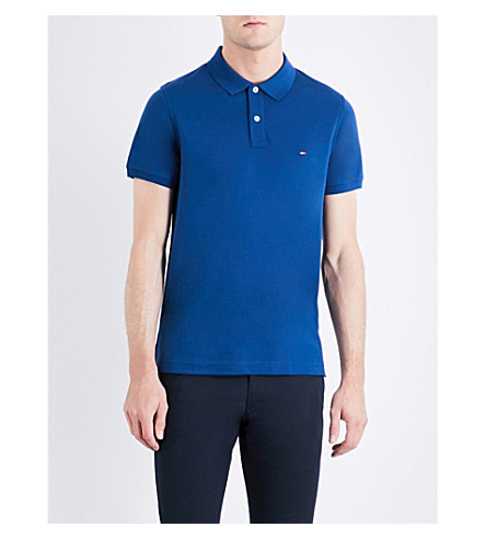 TOMMY HILFIGER Luxury slim-fit cotton-piqué polo shirt (Estate+blue