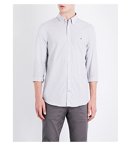 TOMMY HILFIGER Dobby slim-fit cotton shirt (Silver/white