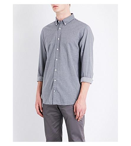 TOMMY HILFIGER Micro dot-print New York-fit cotton shirt (Cloud+htr/blue