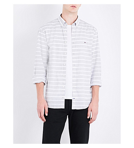 TOMMY HILFIGER Bold New York-fit cotton shirt (Cloud+htr+/+bright+white