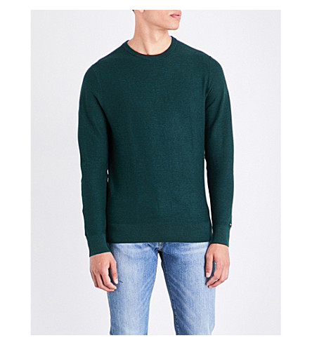 TOMMY HILFIGER Crewneck knitted cotton jumper (Scarab+heather