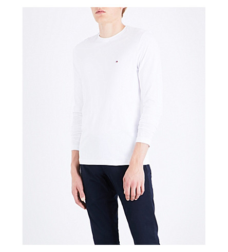 TOMMY HILFIGER Logo-embroidered stretch-cotton top (Bright+white