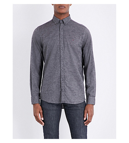 TOMMY HILFIGER Embroidered-logo New York-fit cotton-flannel shirt (Charcoal+htr