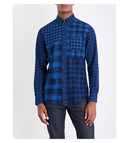 TOMMY HILFIGER Checked regular-fit cotton-flannel shirt (Indigo